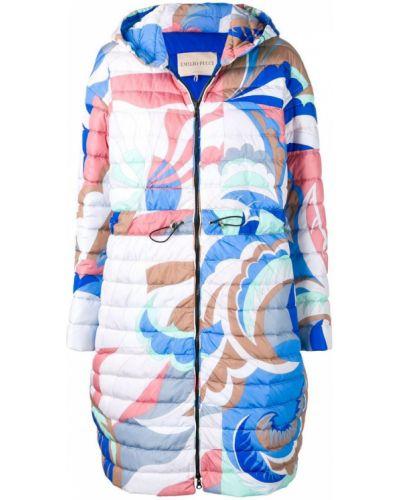 Синее длинное пальто с капюшоном Emilio Pucci