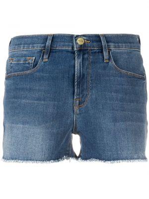 Синие хлопковые джинсовые шорты с карманами Frame