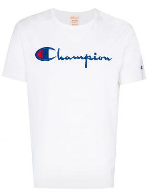 Хлопковая белая рубашка с вышивкой Champion