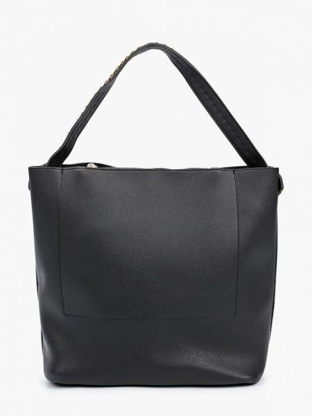Кожаная сумка с ручками черная Code