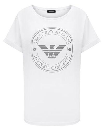 Хлопковая белая футболка Emporio Armani