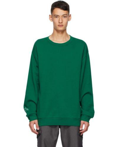 Хлопковый с рукавами зеленый свитшот с воротником Affix