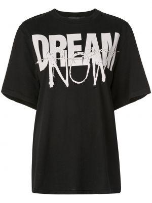 Прямая свободная черная футболка с круглым вырезом Haider Ackermann