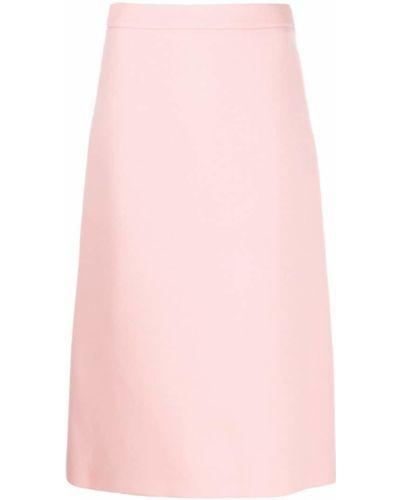 Юбка миди с завышенной талией розовая Prada