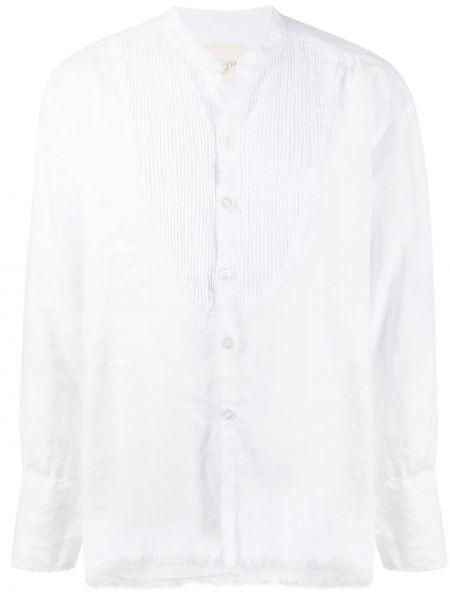 Biała koszula w paski z długimi rękawami Greg Lauren