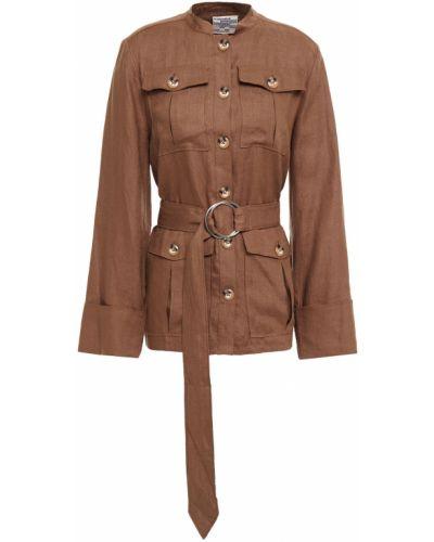 Льняная коричневая куртка с поясом Baum Und Pferdgarten