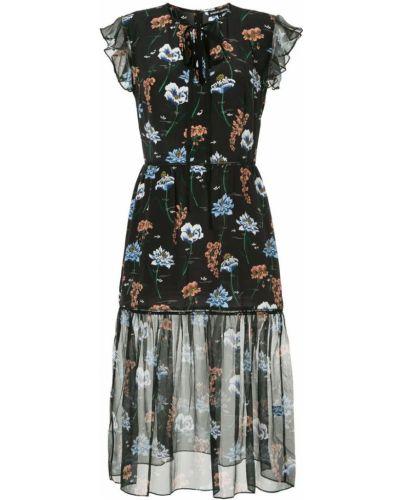Платье миди с цветочным принтом шелковое Markus Lupfer