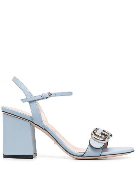 Niebieski skórzany sandały z klamrą na pięcie Gucci