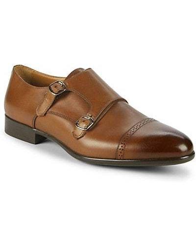 Коричневые кожаные монки на каблуке Paul Stuart