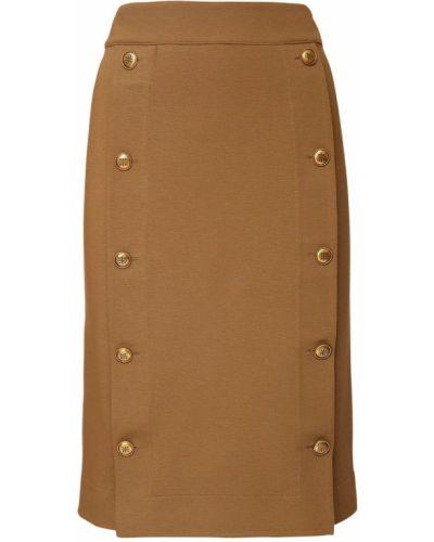 Beżowy z wysokim stanem spódnica midi rozciągać na przyciskach Givenchy