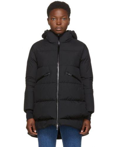 Пуховое черное длинное пальто с капюшоном Herno
