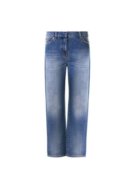 Укороченные джинсы синие с шипами Valentino