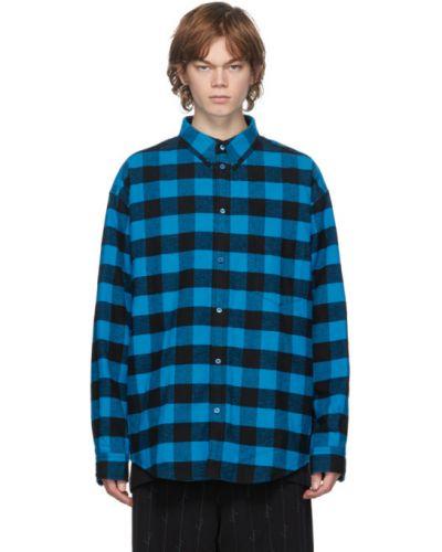 Теплая фланелевая черная рубашка Balenciaga