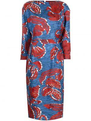 Синее платье в цветочный принт Stella Jean