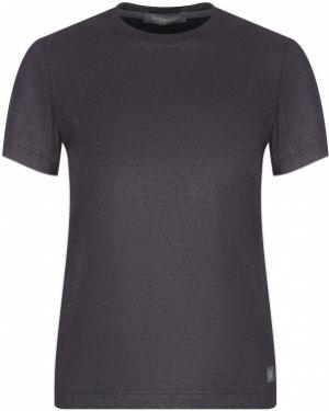Хлопковая футбольная черная футболка с круглым вырезом Capobianco