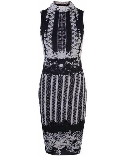 Черное приталенное прямое платье миди Fuzzi