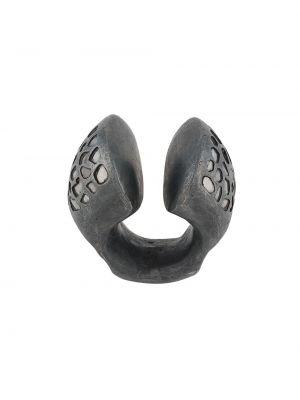 Серое кольцо с бриллиантом матовое без застежки Parts Of Four