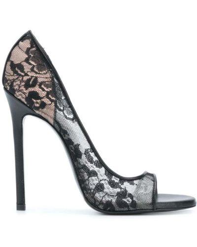 Ажурные черные босоножки на каблуке Maison Ernest