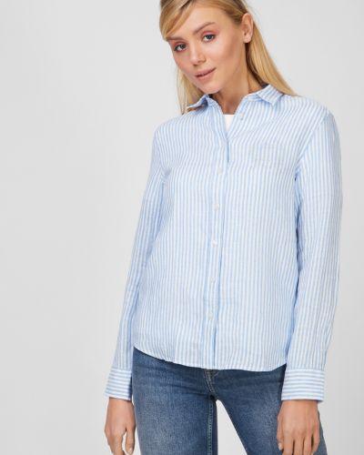 Льняная рубашка в полоску с нашивками Gant