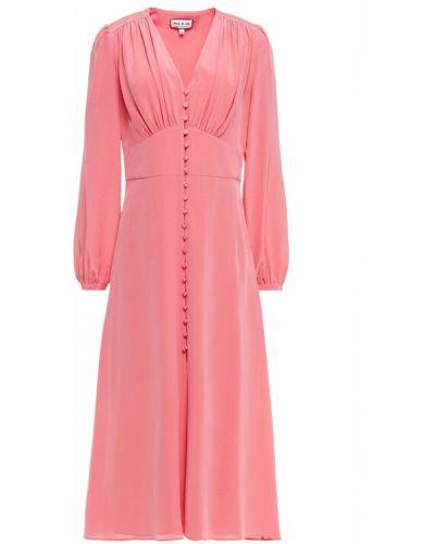 Розовое шелковое платье миди с подкладкой Paul & Joe