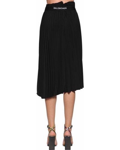 Prążkowana czarna spódnica midi asymetryczna Balenciaga
