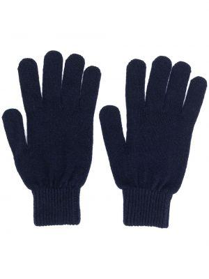 Niebieskie rękawiczki wełniane z haftem Paul Smith