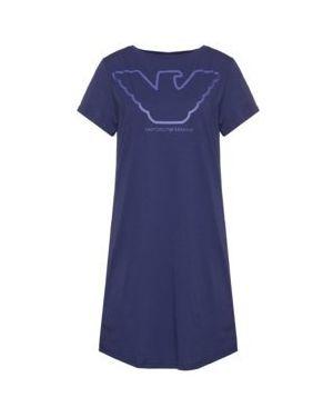 Fioletowa koszula nocna bawełniana Emporio Armani Underwear