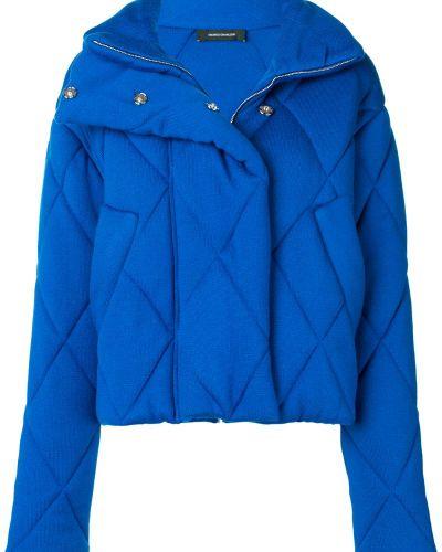 Синяя прямая стеганая куртка Cédric Charlier