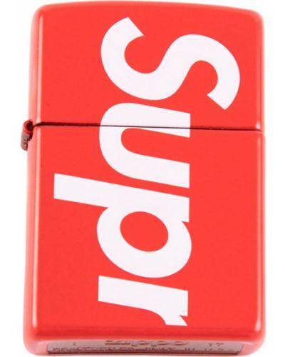 Красная домашняя зажигалка металлическая Supreme