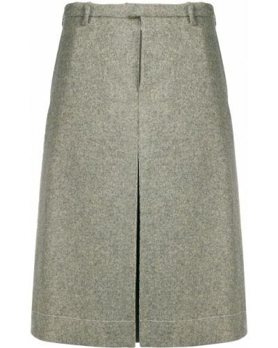 Шерстяная зеленая юбка с поясом Maison Margiela