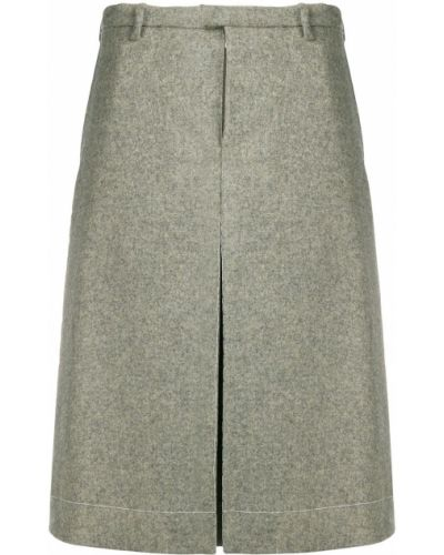 Зеленая шерстяная юбка-шорты с карманами Maison Margiela