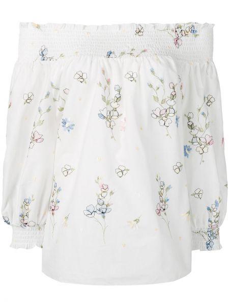 Хлопковая белая рубашка с вышивкой Blugirl