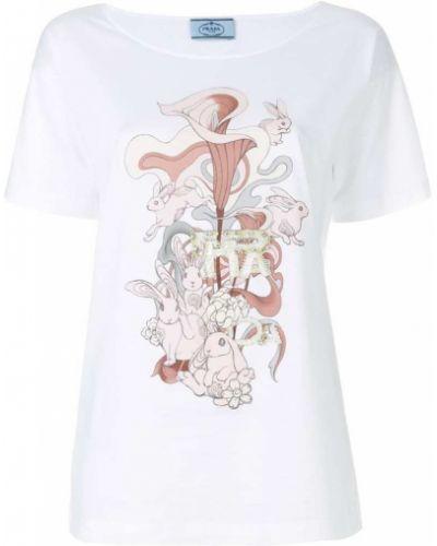 Белая футболка хлопковая Prada