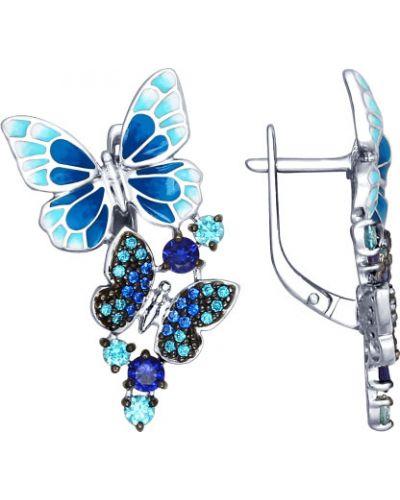 Серебряные серьги с фианитом с бабочками Sokolov