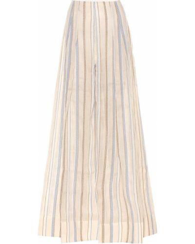 Beżowe spodnie eleganckie w paski Jacquemus