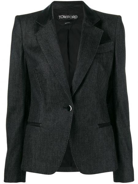Черный кожаный удлиненный пиджак с карманами Tom Ford