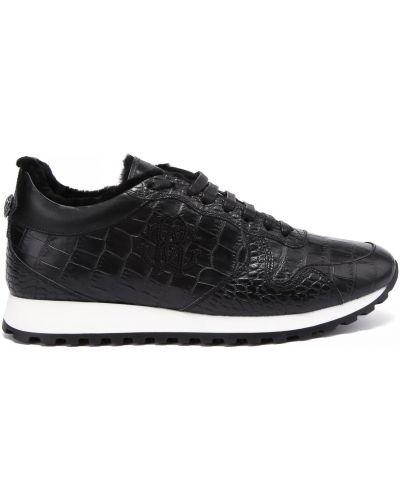 Кожаные кроссовки на шнуровке круглые Roberto Cavalli