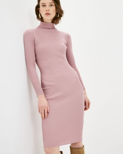 Вязаное трикотажное розовое платье Katya Erokhina