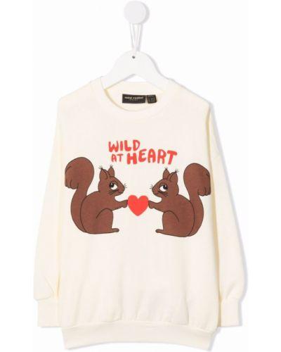 Biała bluza z długimi rękawami Mini Rodini