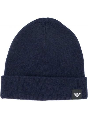 Шерстяная шапка бини - синяя Emporio Armani