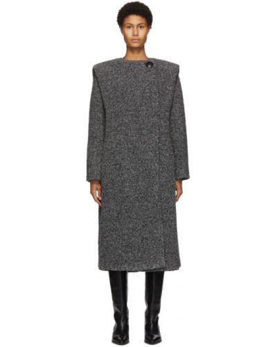 Черное длинное пальто из альпаки с воротником Isabel Marant