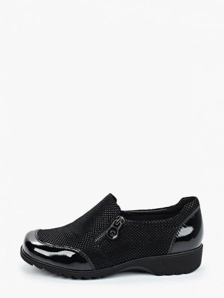 Велюровые черные туфли закрытые Thomas Munz