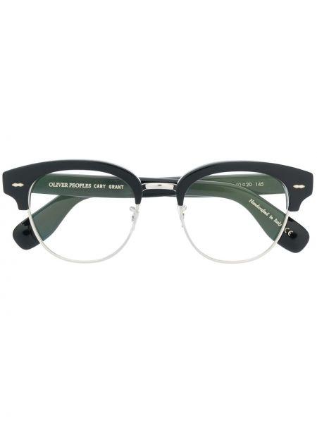 Prosto czarny oprawka do okularów okrągły z ozdobnym wykończeniem Oliver Peoples