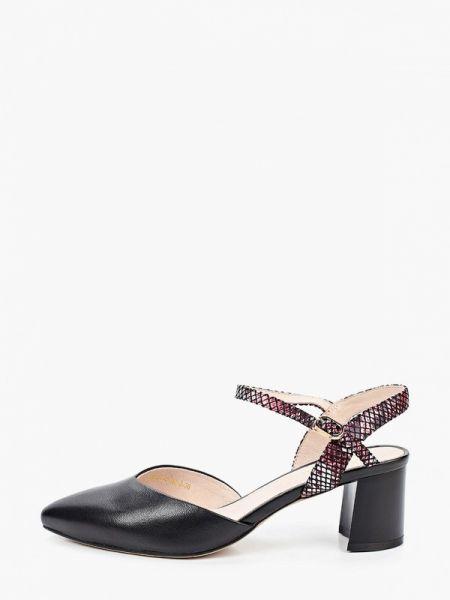 Черные кожаные туфли с открытой пяткой из натуральной кожи Berkonty