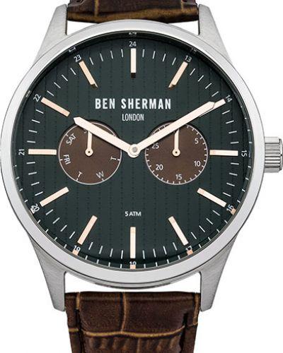 Часы водонепроницаемые с кожаным ремешком зеленый Ben Sherman