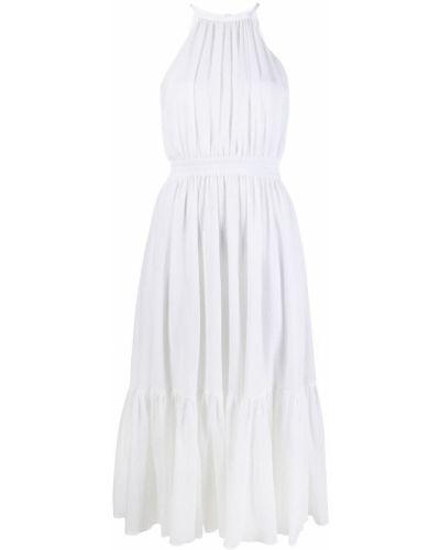 Белое платье миди с поясом с вырезом Michael Michael Kors