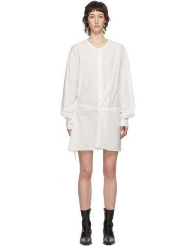 Хлопковое белое платье макси с длинными рукавами с воротником Ann Demeulemeester