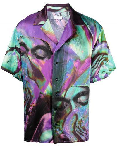 Niebieska koszula z wiskozy z printem Ih Nom Uh Nit