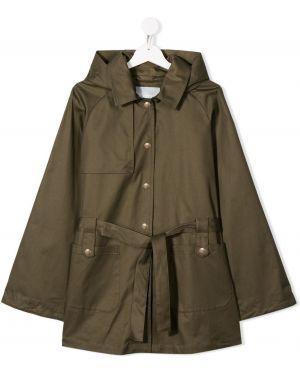 Зеленое длинное пальто Herno Kids