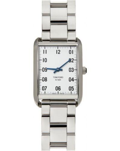 Czarny zegarek kwarcowy srebrny z diamentem Tom Ford